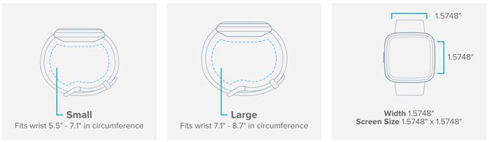 tamaño del fitbit versa 2